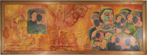 033-0101033200N - The Conversation - 1997 - Oil/rope/letters print on canvas - 80 x 210 cm