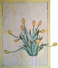 033 010103348N - Stilleven met bloemen (Still Life with flowers) - 1996 - Oil/fabric/3D-collage/sand on canvas - 150 x 110 cm