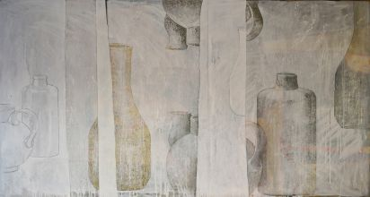 033-0101033203N - Man met stilleven (Man with still life) - 1998 - Oil on canvas - 80 x 155 cm