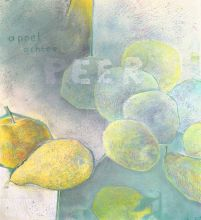 033-0101033233N - Appel achter peer (Apple behind pear) - 2008 - Oil/coloured chalks on canvas - 100 x 90 cm