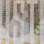 033-0101033234N - Luister (Listen), 2015 - Oil/netting on canvas - 50 x 100 cm