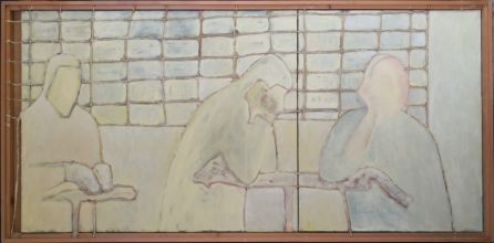 033-0101033235N - Compositie in twee (Composition in two) -  1996 - Oil/rope/letters on canvas -  80 x 200 cm
