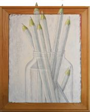 033-0101033237N - Witte potloden (White pencils) - 1996 - Oil/3D-collage on canvas - 75 x 60 cm