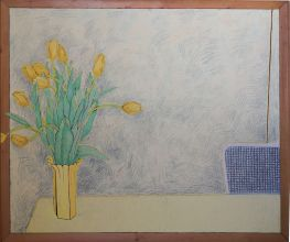 033-010103344N - Stilleven met bloemen (Still Life with flowers) - 1992 - Oil/rope/sand on canvas - 130 x 150 cm
