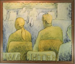 033-010103359N - Wachten (Waiting) -  1994 -  Oil/rope/letters on canvas -  125 x 150 cm