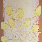 033-010103368N - Rozen (Roses) - 1994 - Oil//rope/sand on canvas - 210 x 80 cm