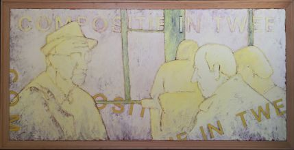 033-010103376N - Ontmoeting (Meeting) -  1990 - Oil/rope on canvas -two parts -  70 x 160 cm