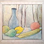 033-010103377N - Stilleven met fruit (Still Life with fruit) - 1996  Oil/letters on canvas - 85 x 90 cm