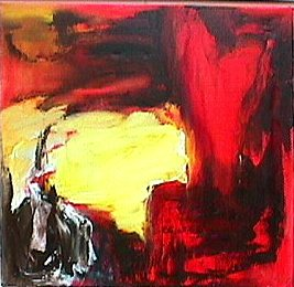 Red landscape - Paintings - Oilpaint on canvas - 070x070 - €1450