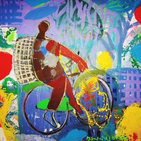 Lhomme a la bicyclette 2011- Paintings - Acrylics on canvas - 180x180 - €7.250 - 0102148582