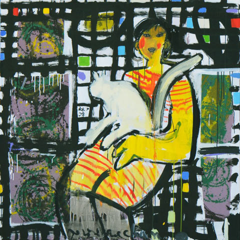 Marybel and her cat 2011 - Paintings - Acrylics on canvas - 130x130 - €3.552 - 0102148584