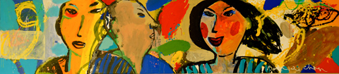 Les Deux Amants 2 - Paintings - Acrylics on canvas -250x060 - €6.200 - 0102148603