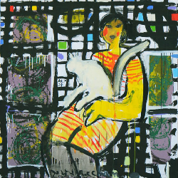 Marybel and her cat 2011 - Paintings - Acrylics on canvas - 130x130 - €3.552