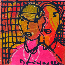 Man met gele pet 2011 - Paintings - Acrylics on canvas - 020x020 - €4.50