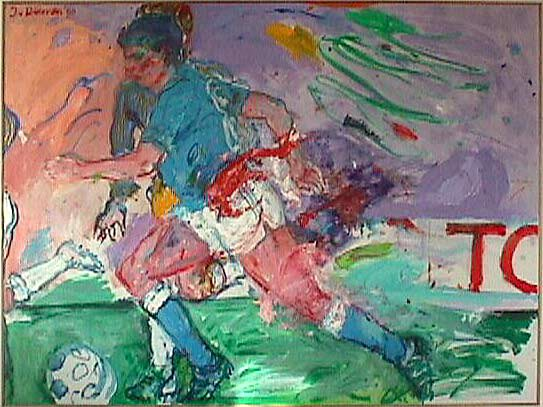 Voetbalscene 1 - Paintings - Oilpaint on canvas - 140x180 - € 4256