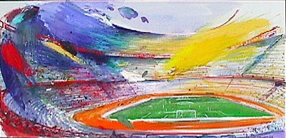 Voetbal Stadion - Paintings - Oilpaint on canvas - 180x090 - € 2997