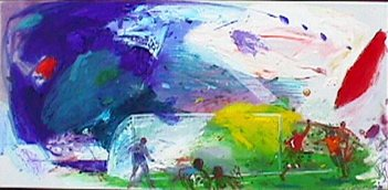 Voetbalscene 3 - Paintings - Oilpaint on canvas - 150x075 - € 2997