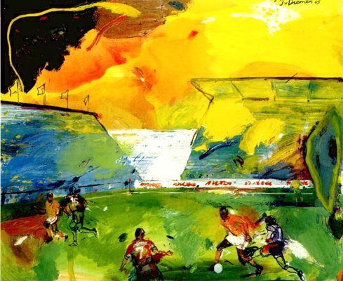 Voetbal 2 - Paintings - Oilpaint on canvas - 130x160 - € 3900